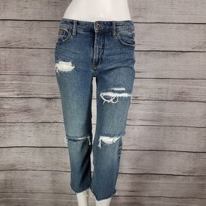 Free People 27 Crop Jeans Destroyed Distressed raw